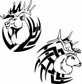 stock photo of predator  - Predator deer head tattoo - JPG