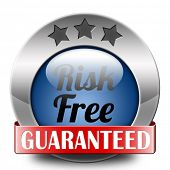 risk free label or sign 100% satisfaction high product quality guaranteed safe investment web shop w