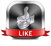 stock photo of follow-up  - like button and follow us thumbs up - JPG