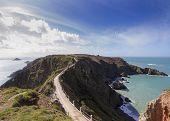 image of sark  - La Coupee on Sark channel islands UK  - JPG