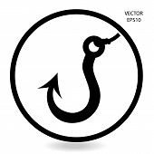 pic of hook  - fishing hook icon  - JPG