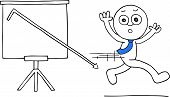 picture of going out business sale  - Hand drawn cartoon businessman running away from standing sales chart with sales going down off chart - JPG