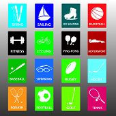 sport equipment color icon set eps10
