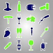 pic of wine-press  - 16 color wine stickers icon set eps10 - JPG