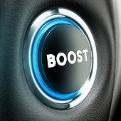 stock photo of stimulating  - Booster button over black textured background - JPG