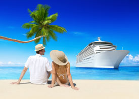 pic of passenger ship  - Romantic Couple Relaxing at Beach with 3D Cruise Ship - JPG
