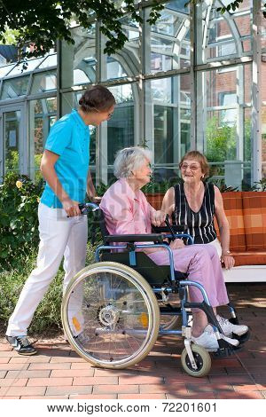 Senior Woman In A Wheelchair With Her Carer