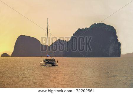 Boat In Thailand Rising Sun