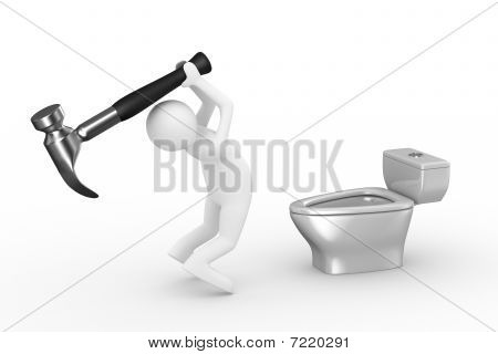 Sanitary Technician Repairs Toilet Bowl. Isolated 3D Image