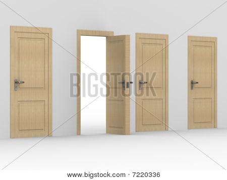 Puerta de madera abierto. Imagen 3D. Página Interior