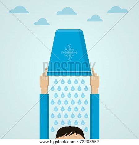 Ice Bucket Challenge. Flat vector illustration.