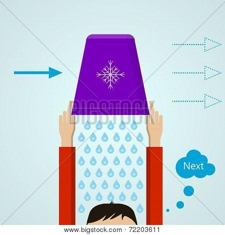 Ice Bucket Challenge. Colored flat vector illustration.
