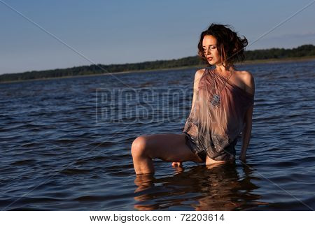 Woman Against Sea Background