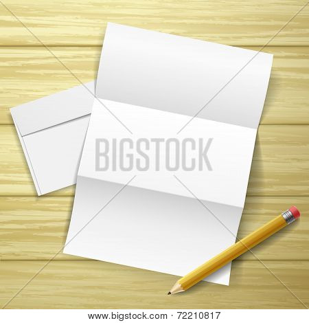 Blank Letter And Pencil