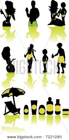 Family Health Vacation Icons Set Sea And Cosmetic Sun.eps