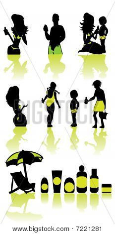 Family Health Vacation Icons Set Sea And Cosmetic Sun Silhouette