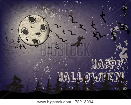 Background On A Holiday Theme Halloween With Dark Sky, Witch And Bats