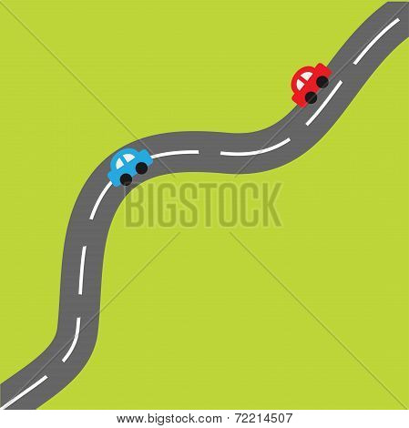 Green Background With Road And Cartoon Cars