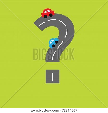 Background With Road In Shape Of Question Mark And Cartoon Cars