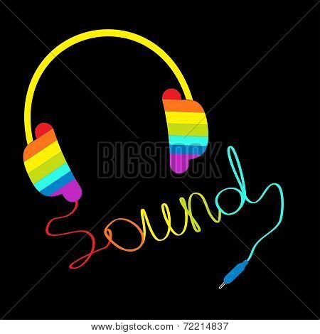 Rainbow Headphones With Cord In Shape Of Word Sound. Music Card.