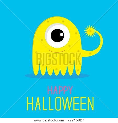 Cute Cartoon Yellow Monster Girl. Happy Halloween Card