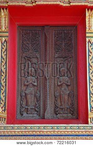 Thai Traditional Style Carved Wooden Window