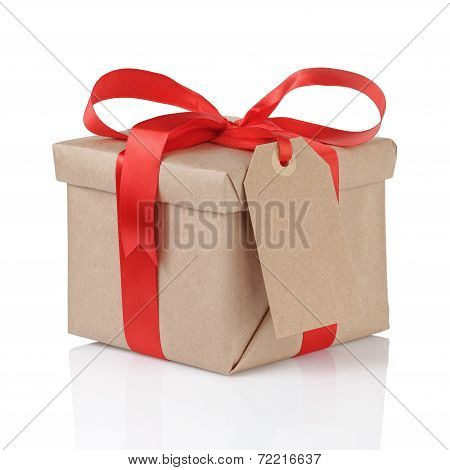 Gift Box Wrapped With Kraft Paper And Red Bow