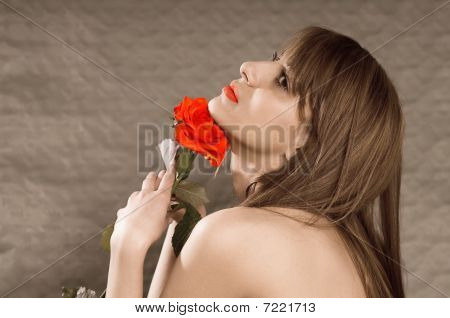 Red Rose And Red Mouth