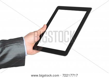 Man hand holds tablet PC