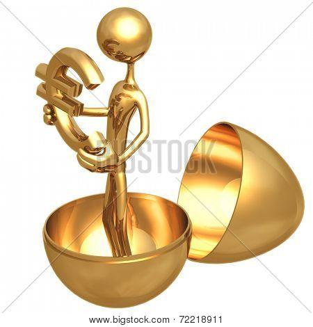 Gold Nest Egg Open With Euro Inside