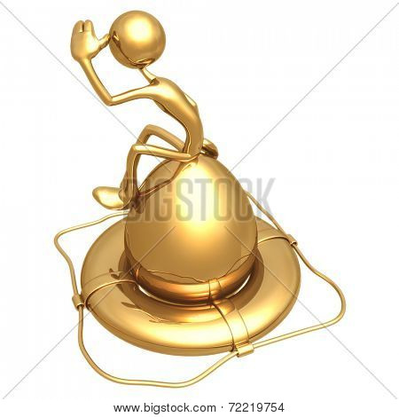 Gold Nest Egg In Life Preserver