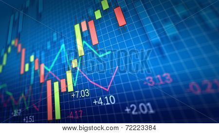 Stock Market Chart. Shallow Depth Of Field.