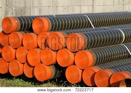 Huge Pipes For Laying Electric Cables And Optical Fibres In The City