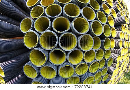 Corrugated Pipes In A Roadworks For Laying Optical Fiber For Telecommunications