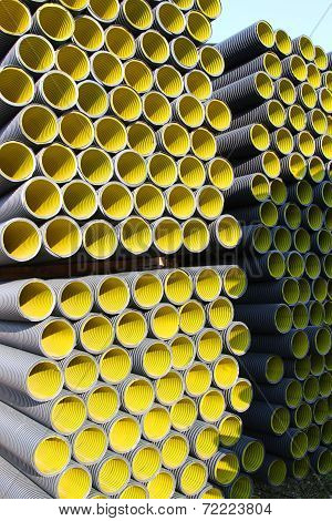 Yellow Corrugated Pipes For Laying Electric Cables And Optical Fibers