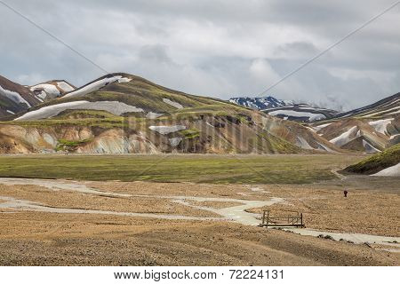 Landmannalaugar unbelievable landscape with tourist and river, Iceland