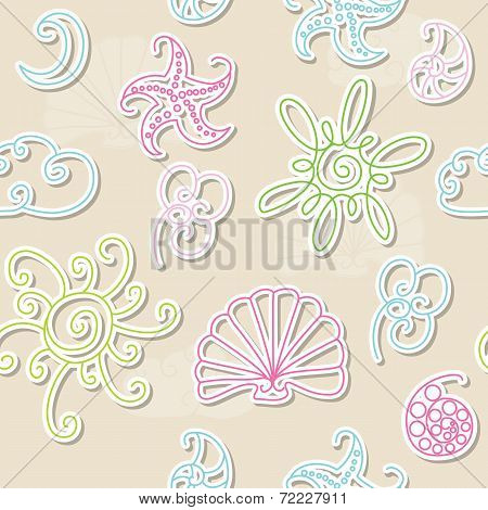 Seamless Summer Patter With Sun, Cloud, Crescent, Starfish, Seashell, Flower.