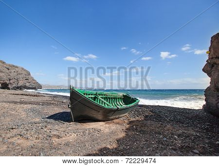 Lanzarote - Wooden boat at the mouth of the Barranco de la Casita