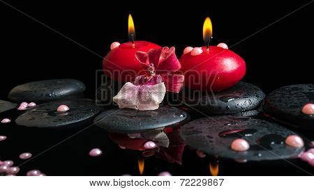 Spa Still Life Of Red Candles, Zen Stones With Drops, Orchid Cambria Flower And Pearl Beads In Water