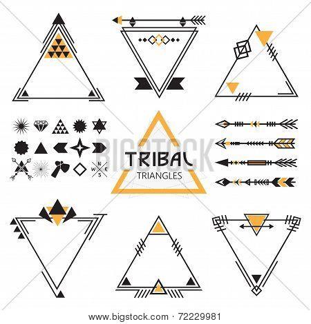 Tribal empty triangles labels arrows, and symbols set
