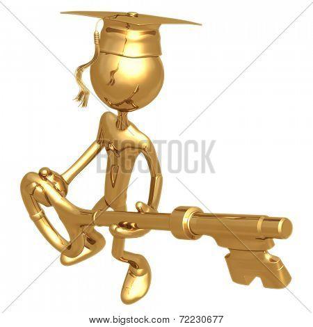 Golden Grad Holding A Key Graduation Concept