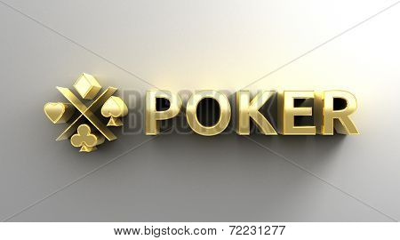 Poker Card Game - Gold 3D Quality Render On The Wall Background With Soft Shadow.