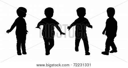 Little Boy Running Silhouettes Set 4
