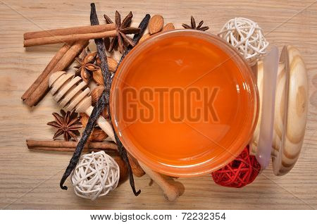 Jar With Honey And Stick For Honey