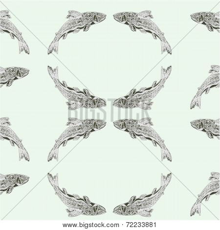 Seamless  Texture Salmon Vintage Engraving  Vector