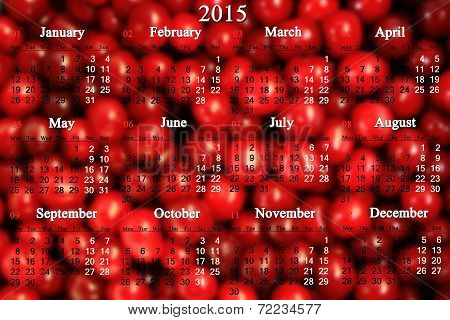 Calendar For 2014 - 2017 Years With Berries Of Cherry
