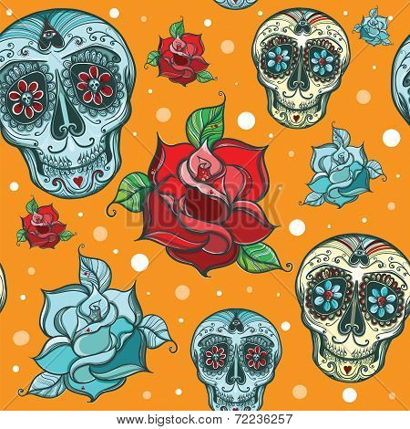 Vector Seamless Pattern With Sugar Skull With Roses