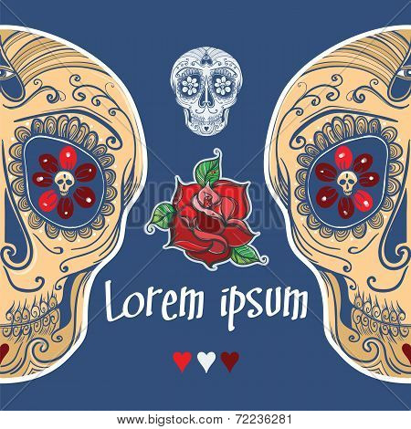 Vector Template With Calavera Sugar Skull And Roses. Eps 10