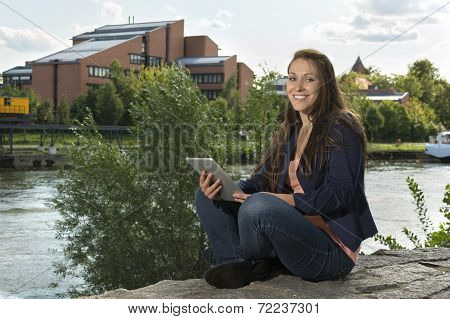Pretty Young Woman With Tablet Pc