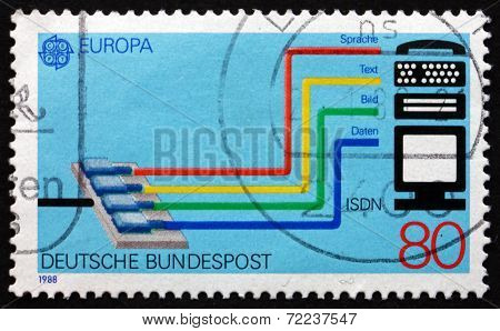 Postage Stamp Germany 1988 Integrated Services Digital Network (